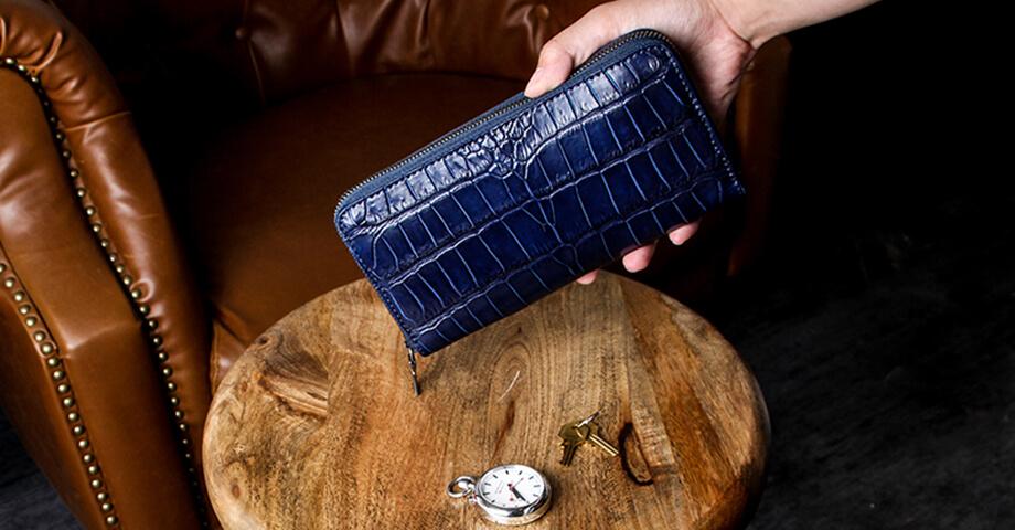 ヴァーミリオン vermilion の藍染クロコの財布