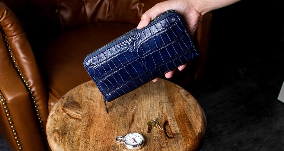 ヴァーミリオンの阿波正藍染クロコ財布